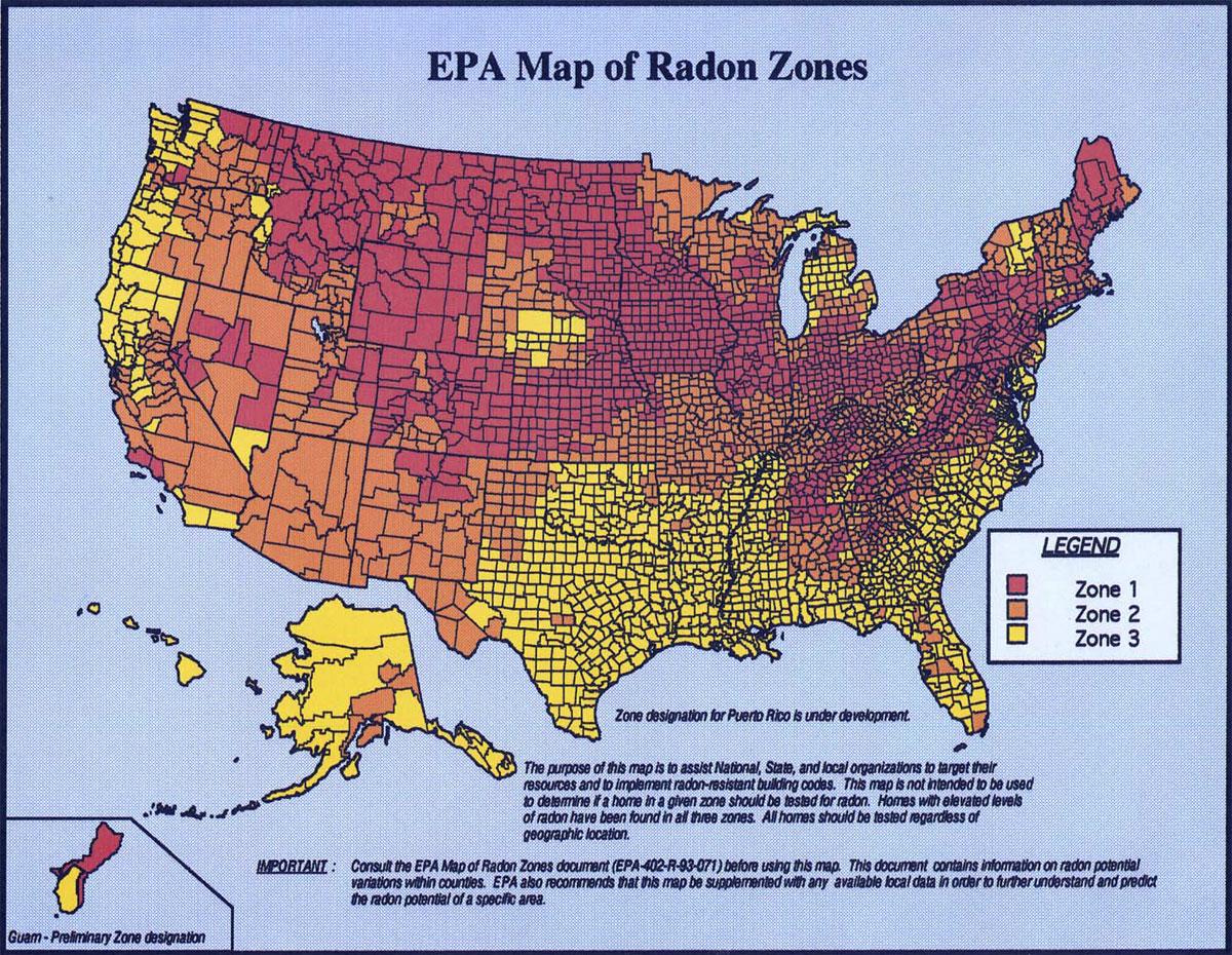 EPA Radon USA Map