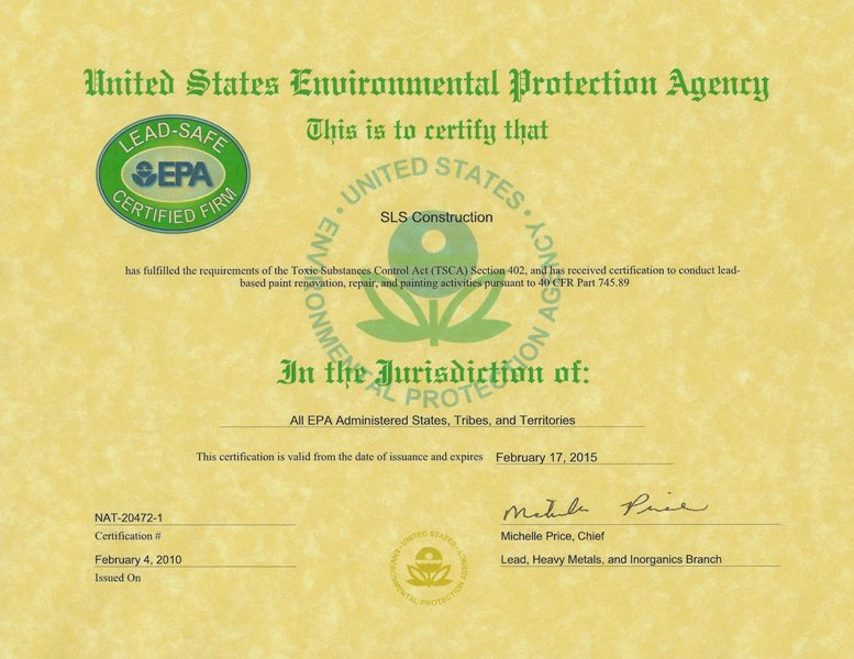 SLS Construction EPA RRP Firm Certificate