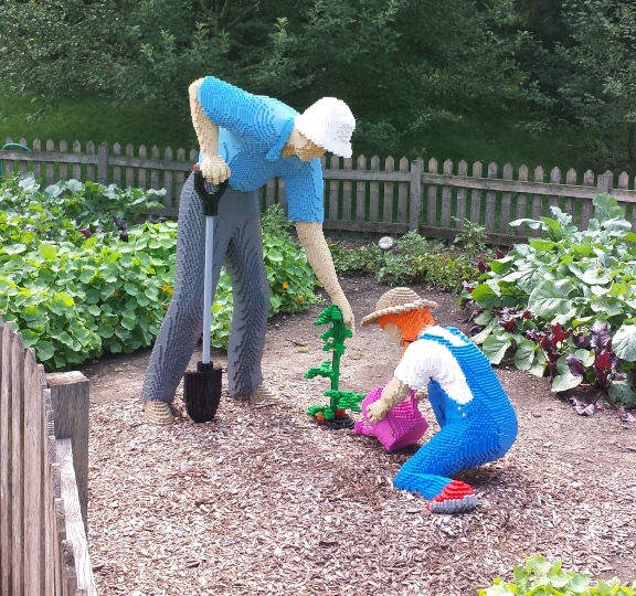 Grandfather & Daughter tending the garden - 46940 blocks // 535 Hours