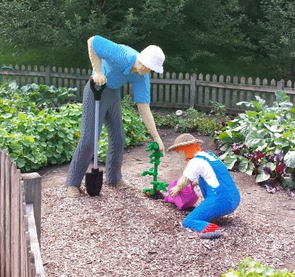 Grandfather & Daughter tending the garden - 46940 blocks // 535 Hours